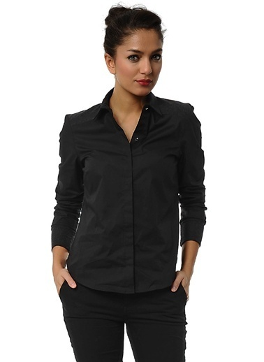 Asymmetry Uzun Kollu Gömlek Siyah